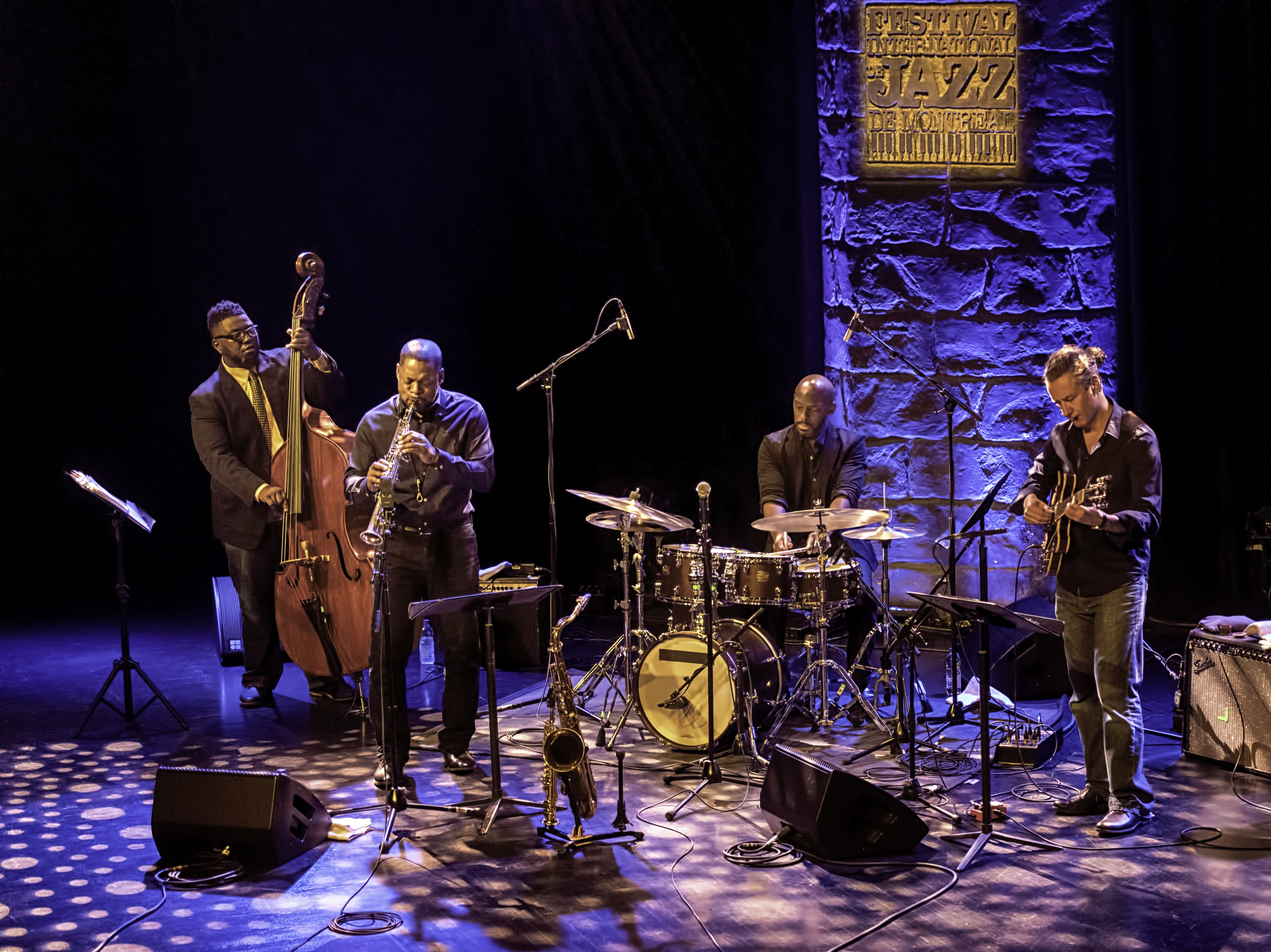 Dezron Douglas, Ravi Coltrane, E.J. Strickland and Adam Rogers with the Ravi Coltrane Quartet at The Montreal International Jazz Festival 2017