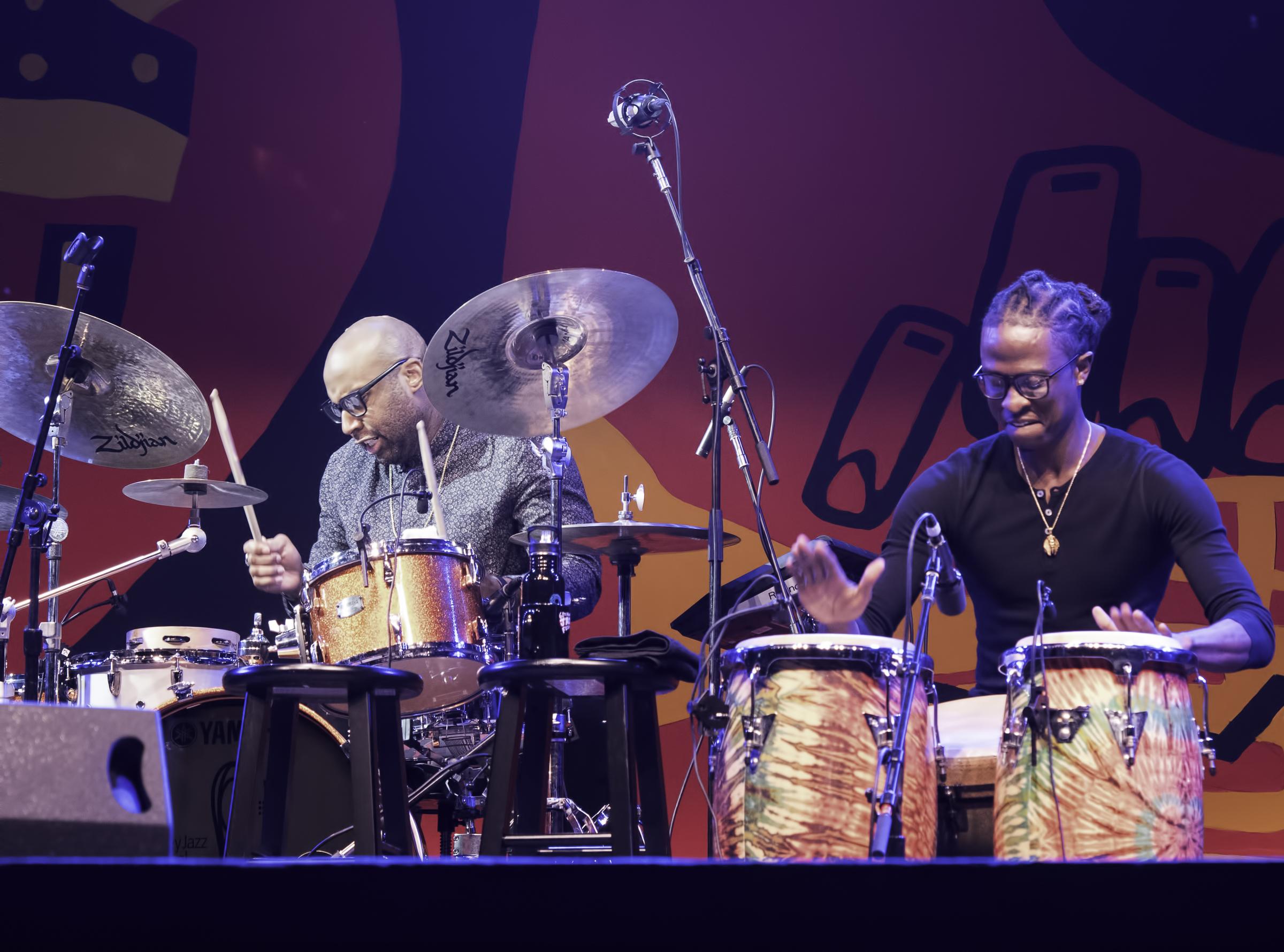 John Davis and Senfuab Stoney with Leslie Odom Jr. at the Monterey Jazz Festival
