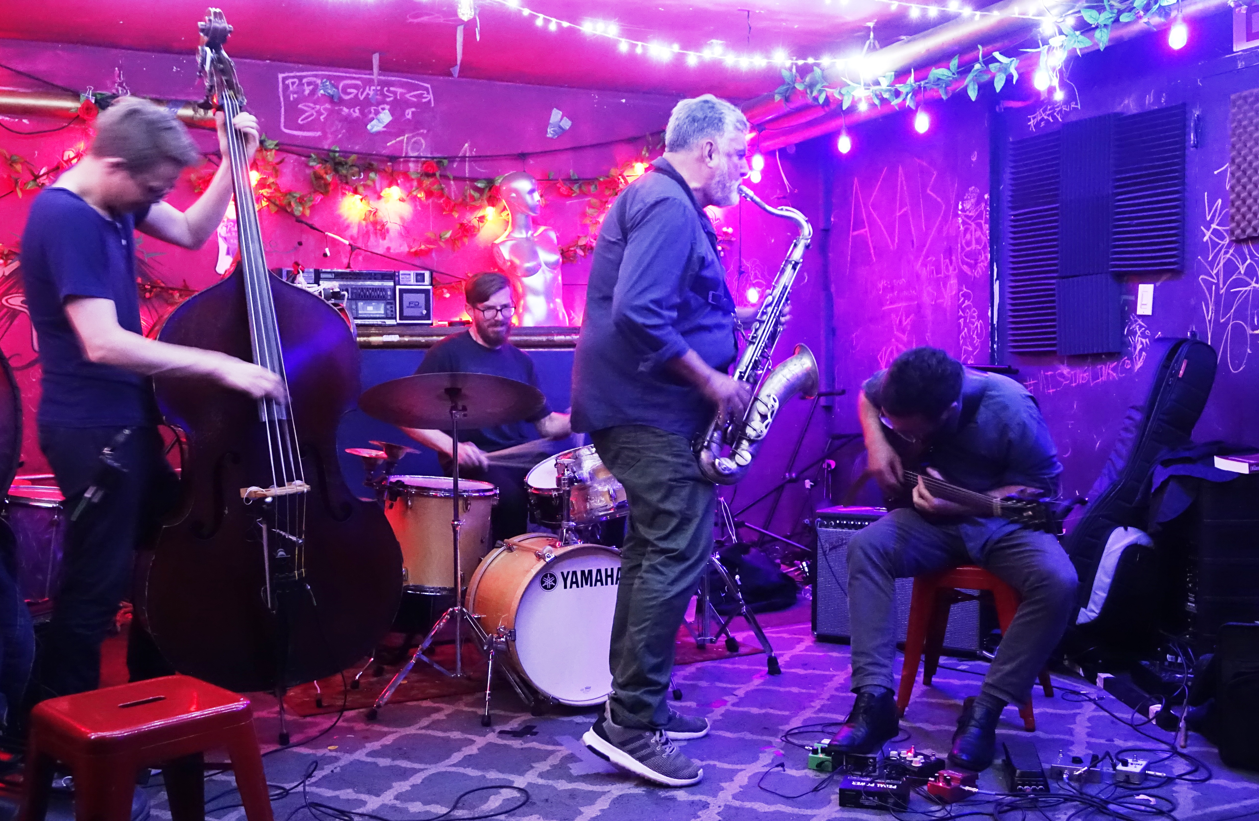Eivind Opsvik, Tony Malaby, Colin Hinton and Todd Neufeld at the Bushwick Public House, Brooklyn in June 2019