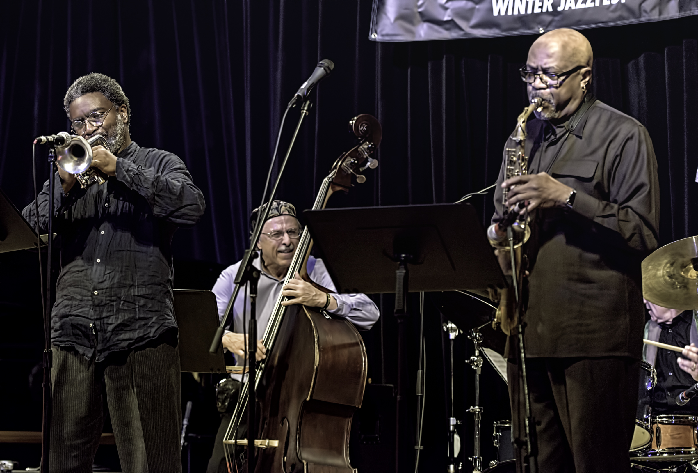 Graham Haynes, Joe Fonda, Oliver Lake And Barry Altshul With Ogjb Quartet At The Nyc Winter Jazzfest 2016