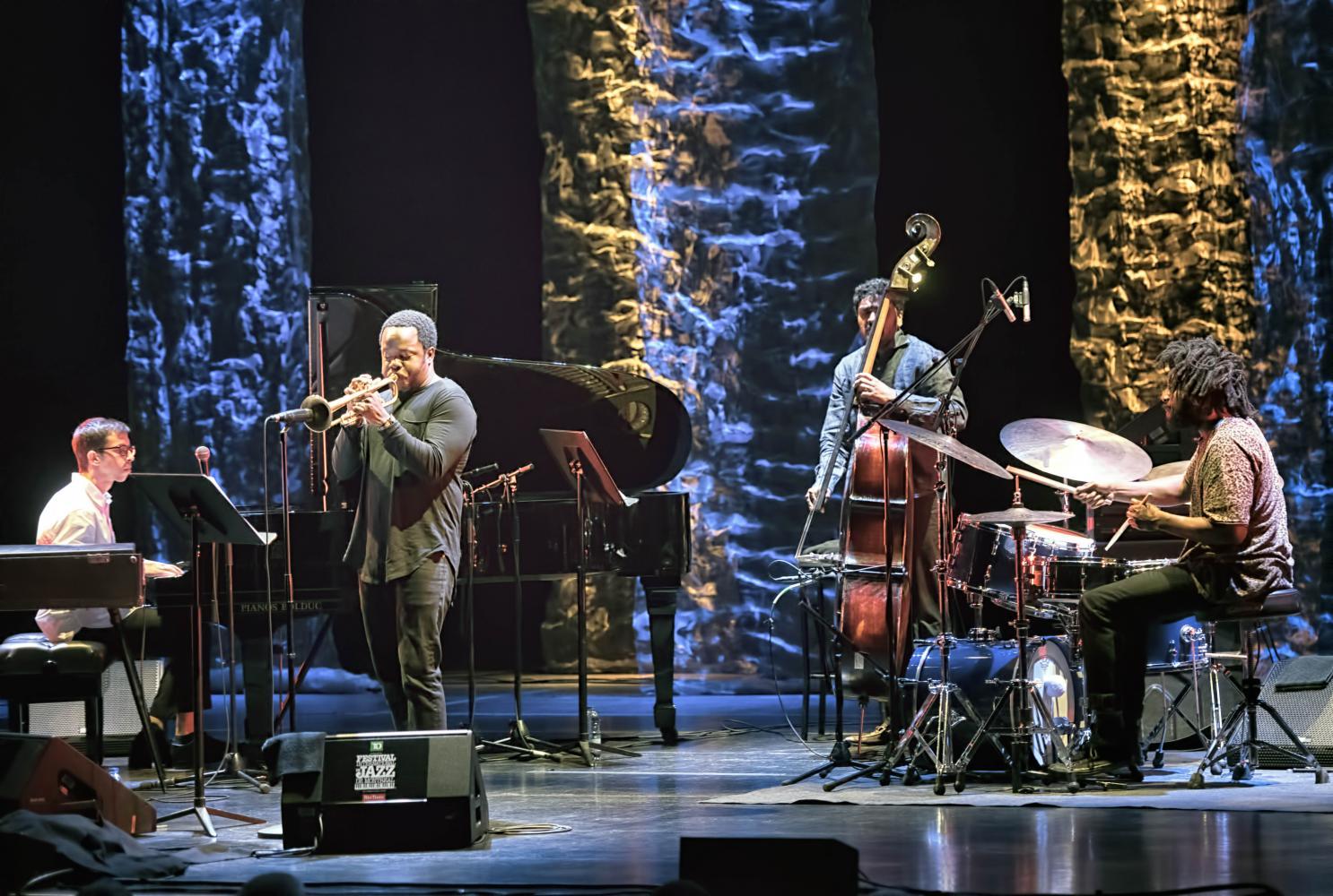 Sam Harris, Ambrose Akinmusire, Harish Raghavan and Justin Brown with the Ambrose Akinmusire Quartet at The Montreal International Jazz Festival 2017