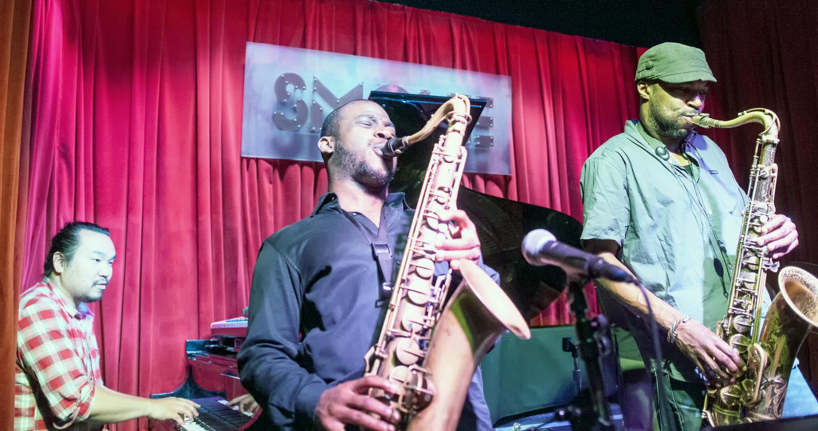 John Chin, Tivon Pennicott and Stacy Dillard at Smoke Jazz Club