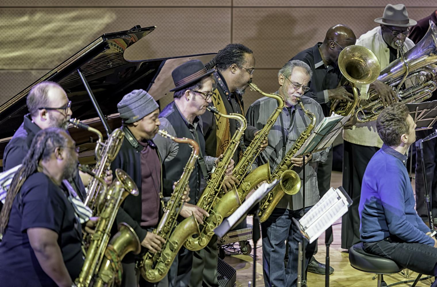 Peter Apfelbaum, Ras Moshe Burnett, Jeff Sheloff, Jay Rodriguez, and Bob Stewart with Craig Harris and Breathe at the NYC Winter Jazzfest 2017