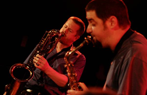 "Dave Rempis and Ken Vandermark with ""Vandermark 5"" at the Sud Des Alpes, Amr, Geneva, Switzerland, 2005"