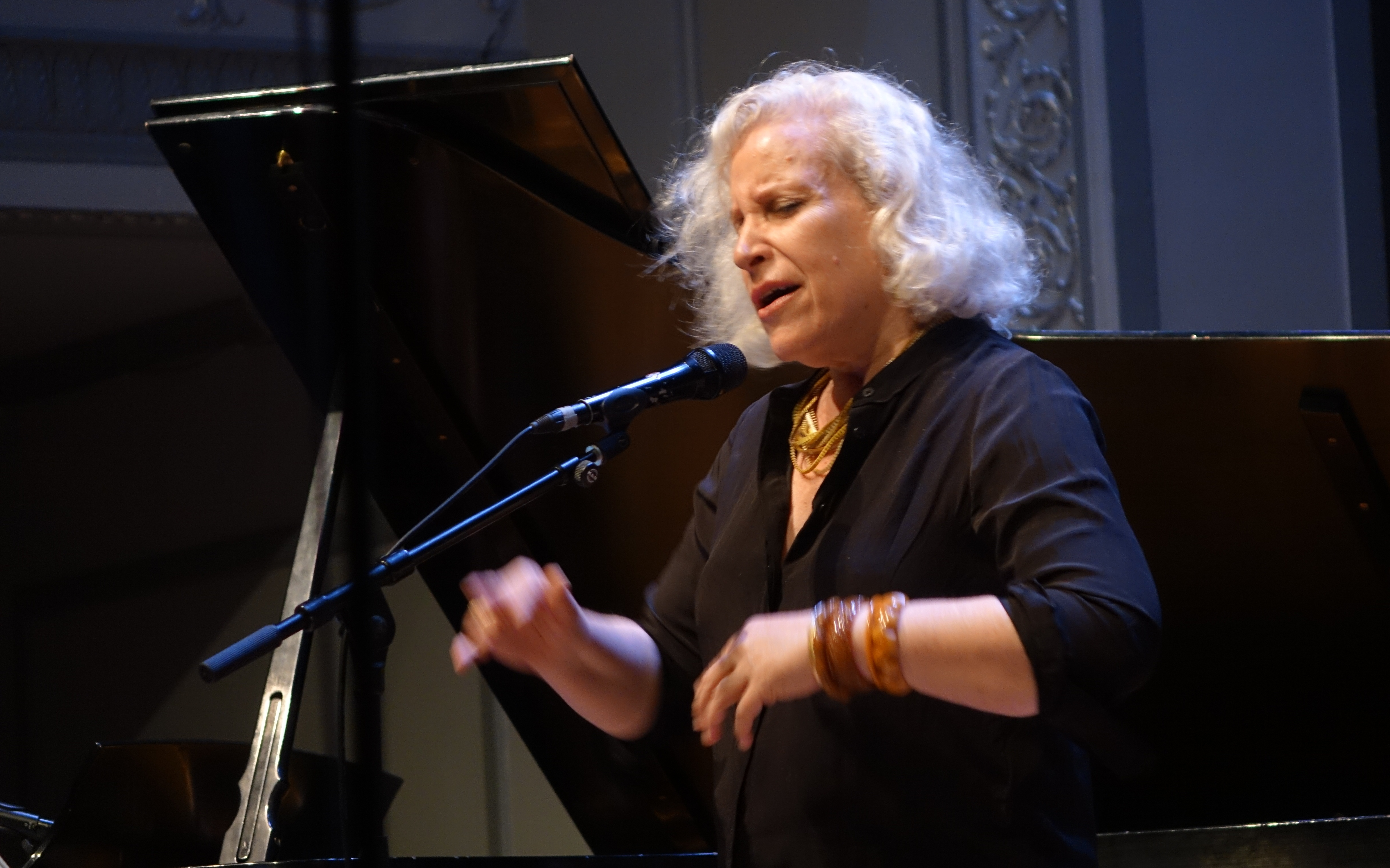 Lisa Sokolov at the Vision Festival in Roulette, Brooklyn in June 2019