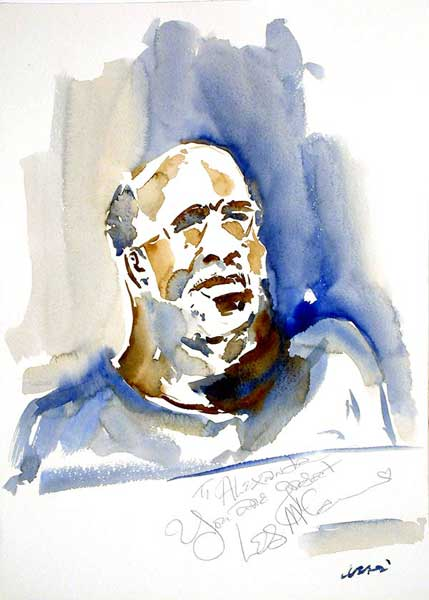 Les McCann 36x50 - Watercolor on Paper 300 GR/MQ - Live at the Concert at the Estival Jazz Jul 2004