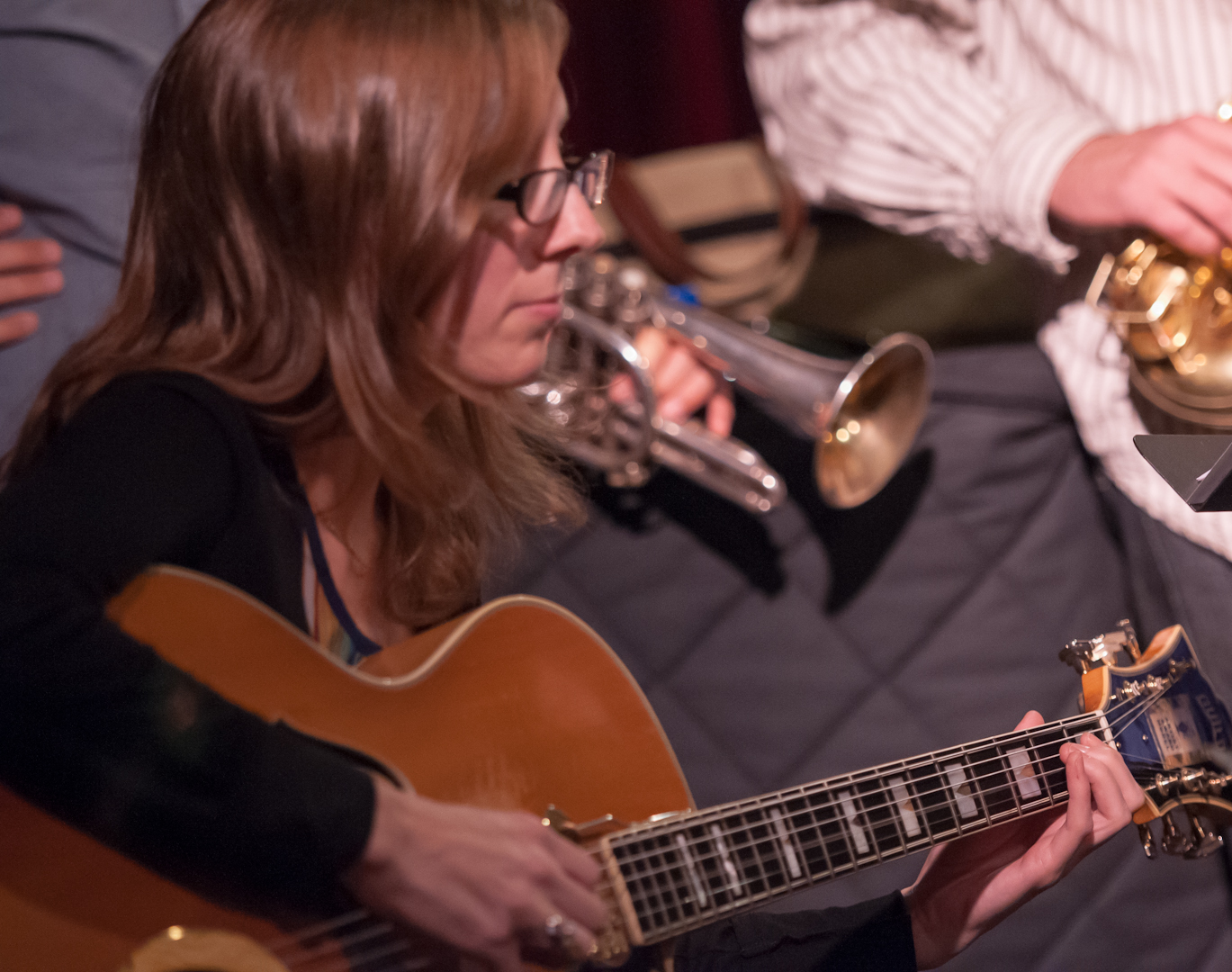 Mary Halvorson with the Taylor Ho Bynum Septet at the Jazz Gallery
