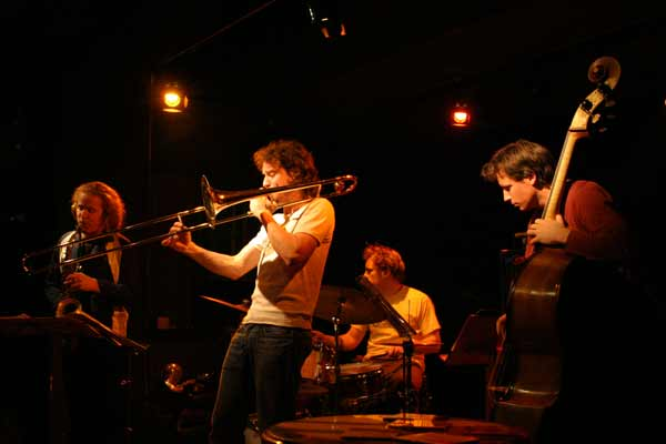"Hayden Chisholm, Nils Wogram, Jochen Ruckert and Matt Penman with ""Nils Wogram - Root 70"" at Amr, Sud Des Alpes, Geneva, Switzer"