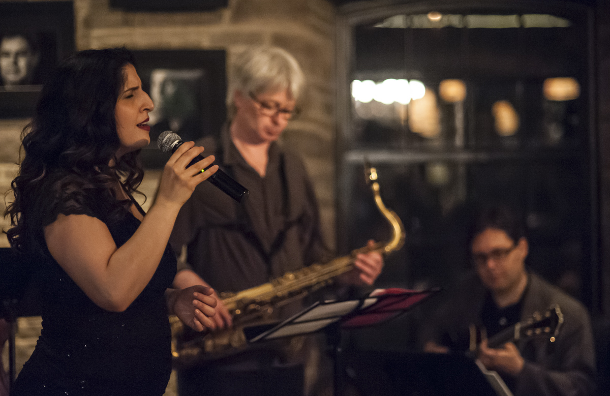 Melissa stylianou, mike murley & reg schwager @ the home smith bar - the old mill inn - toronto