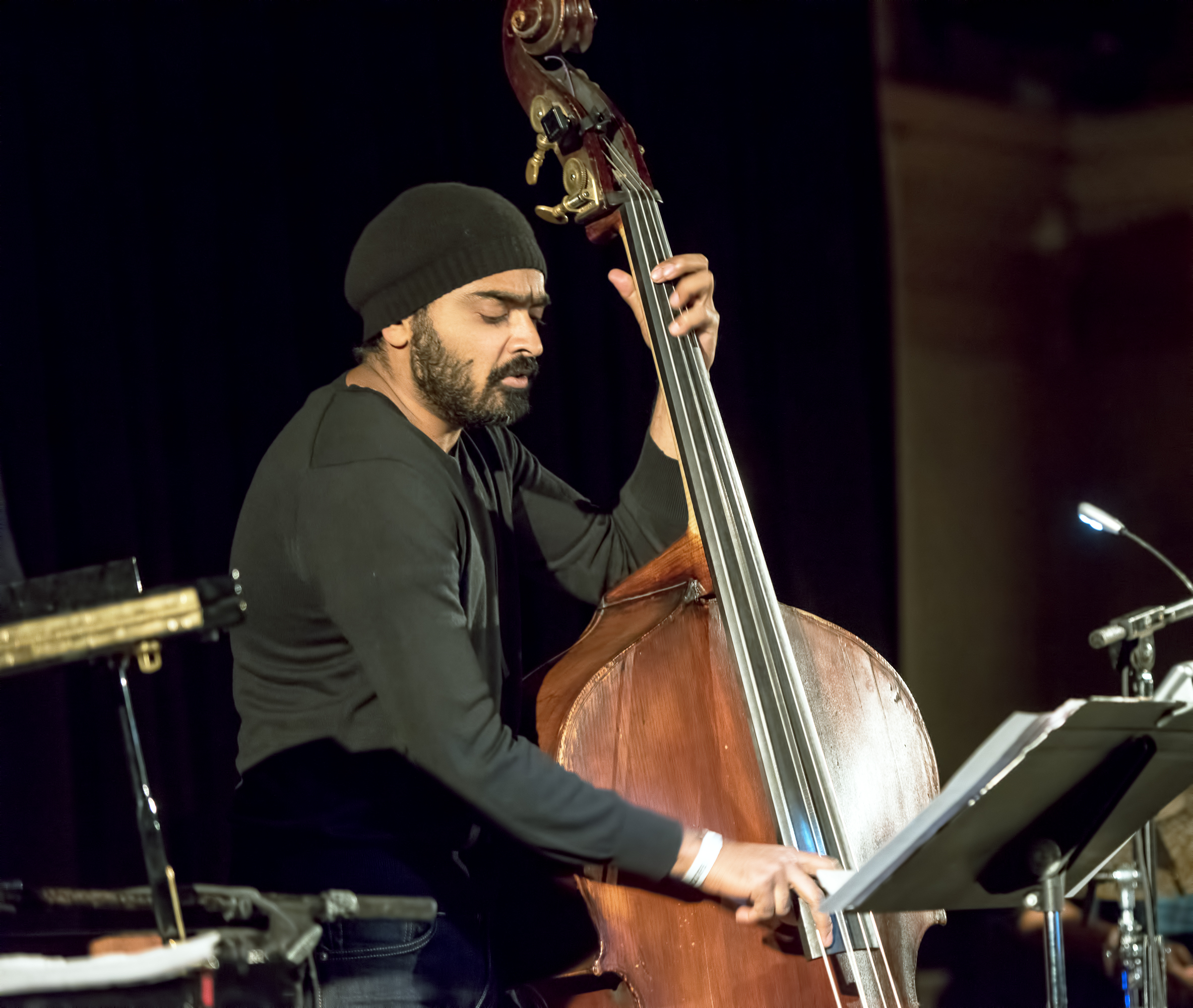 Harish Raghavan with the Ambrose Akinmusire Quartet at the Nyc Winter Jazzfest 2015