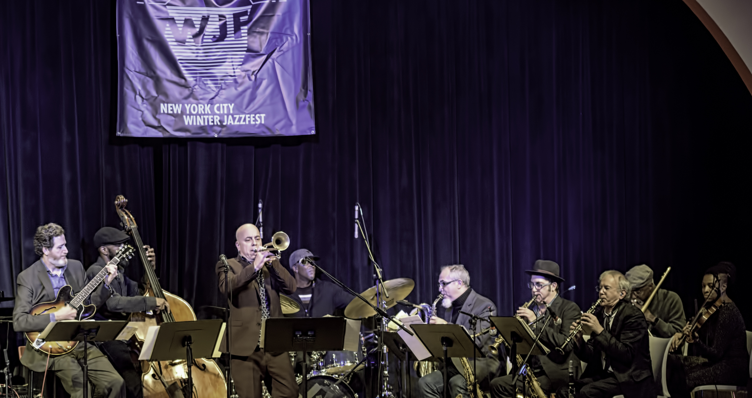 Matt Munisteri, Brad Jones, Steven Bernstein, Donald Edwards, Erik Lawrence, Peter Apfelbaum, Doug Wieselman, Curtis Fowles And Mazz Swift With Butler, Bernstein And The Hot 9 At The Nyc Winter Jazzfest 2016