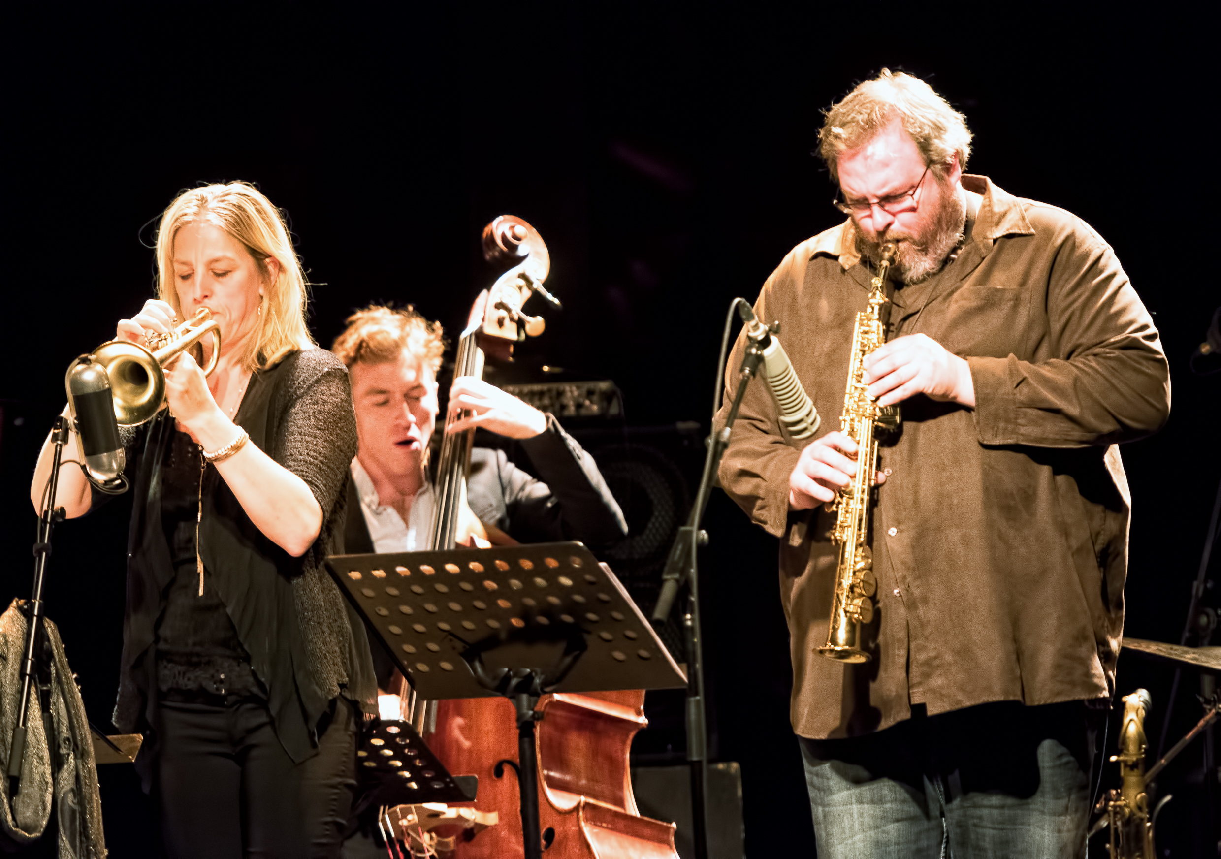 Ingrid Jensen, Remi-Jean Leblanc and Jonathan Stewart with Marianne Trudel at the Montreal International Jazz Festival 2015