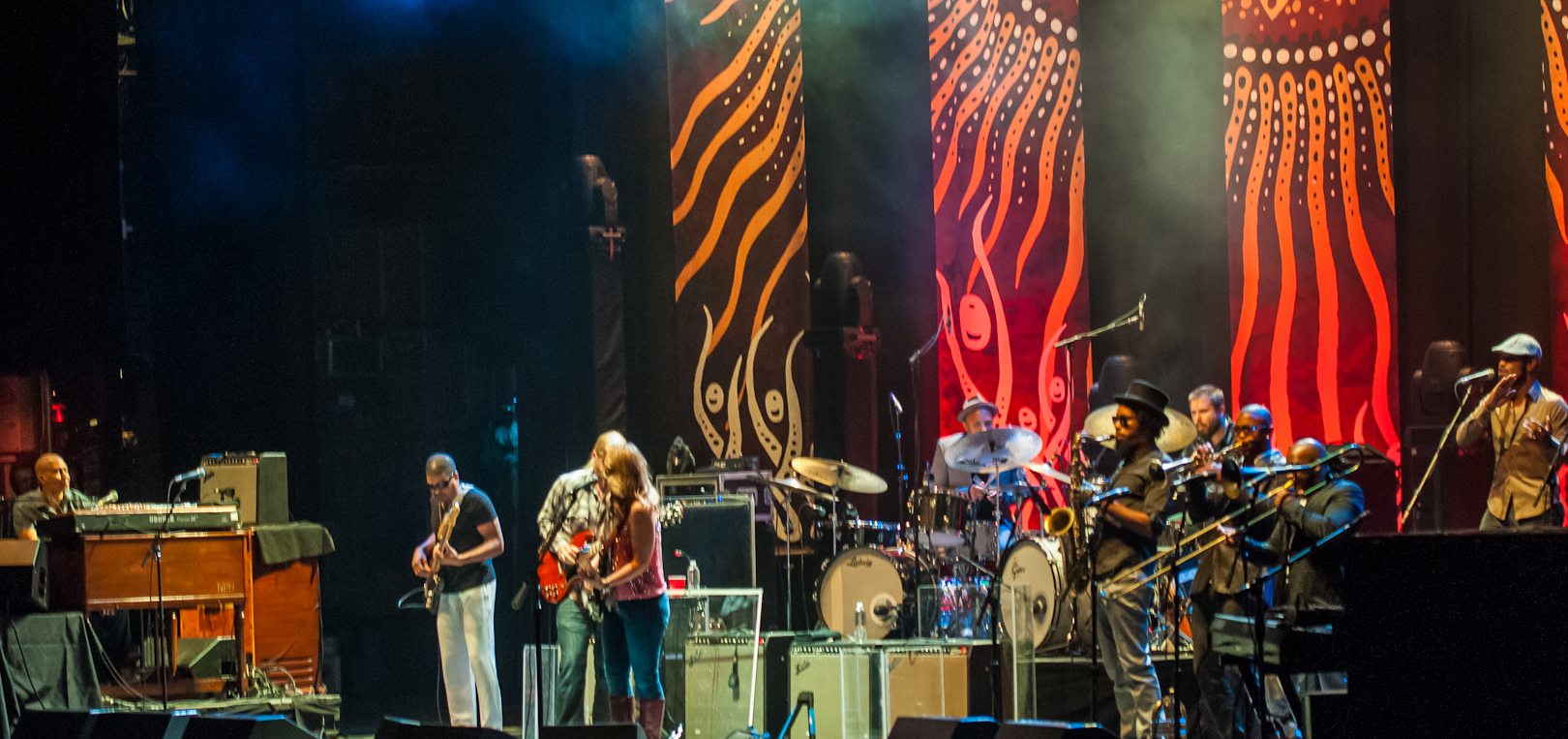 Kofi Burbridge, Oteil Burbridge, Derek Trucks, Susan Tedeschi, J.J. Johnson, Tyler Greenwell, Kebbie Williams, Maurice Brown, Saunders Sermons, and Mark Rivers with the Tedeschi Trucks Band at the Beacon