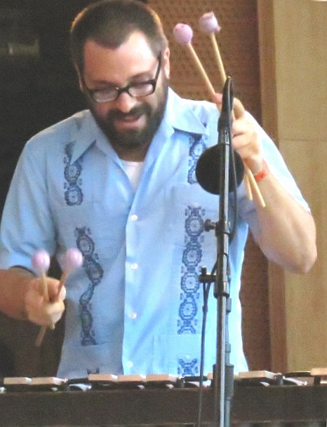 Jason adasiewicz with hamid drake and bindu at 2013 chicago jazz festival