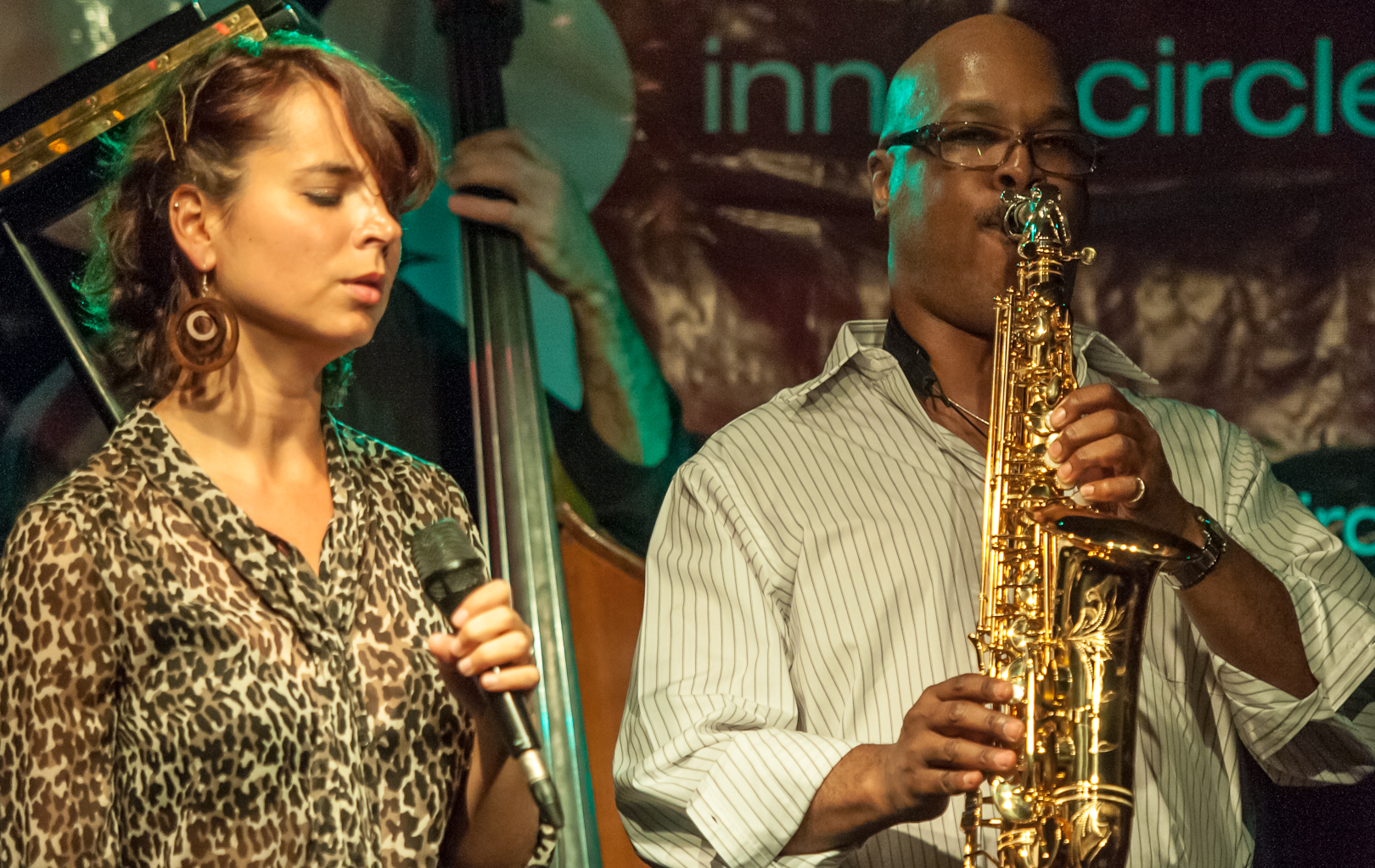 Sara Serpa and Greg Osby with the Greg Osby Six at the Inner Circle Music Festival at the Cornelia Street Cafe