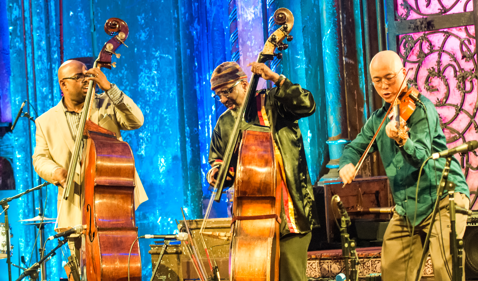 Christian McBride, William Parker and Jason Kao Hwang at the Under_line Benefit at Angel Orensanz Foundation