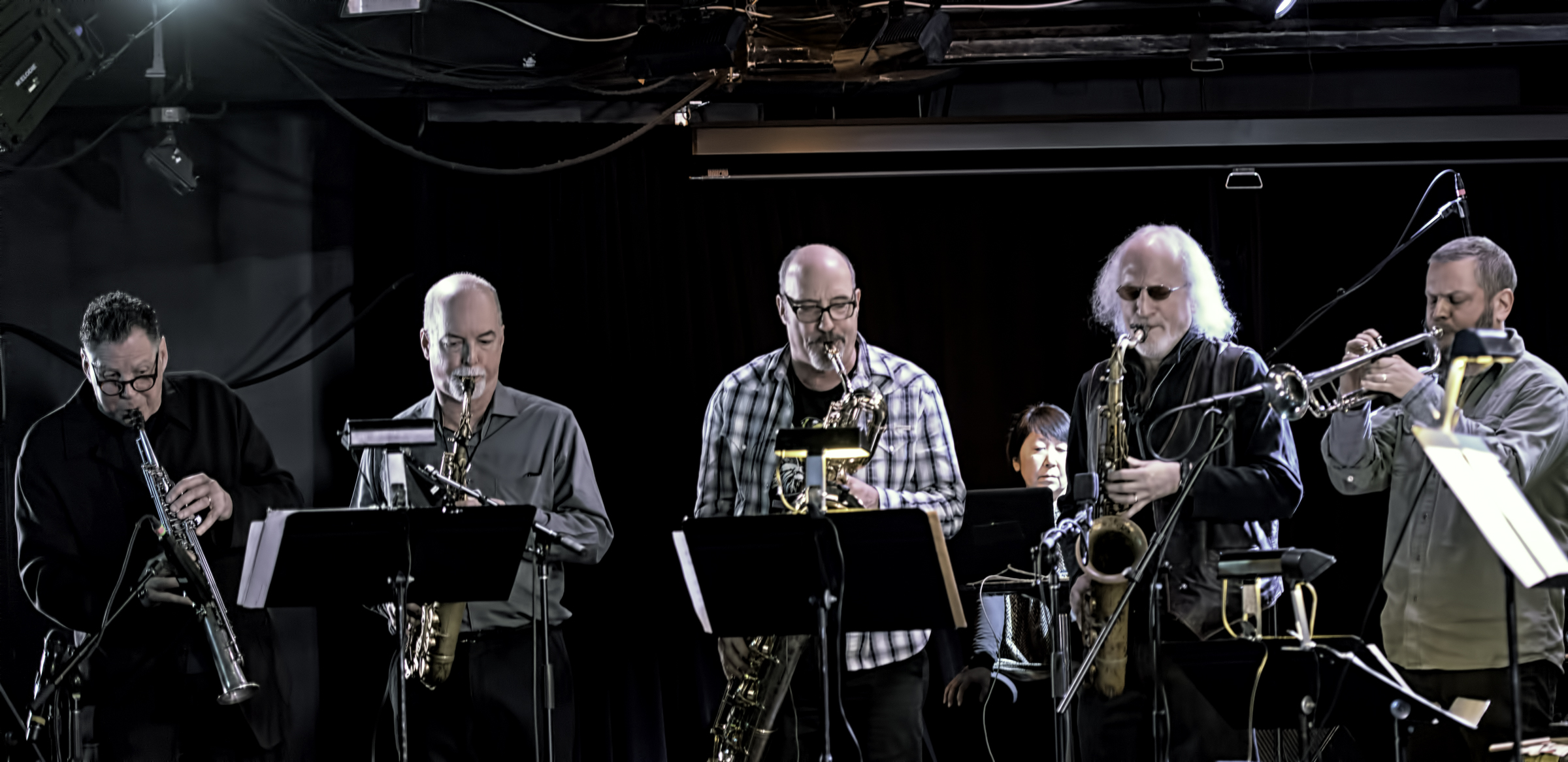 Bruce Ackley, Steve Adams, Jon Raskin, Larry Ochs and Nate Wooley with Rova's Electric Ascension at the NYC Winter Jazzfest 2016