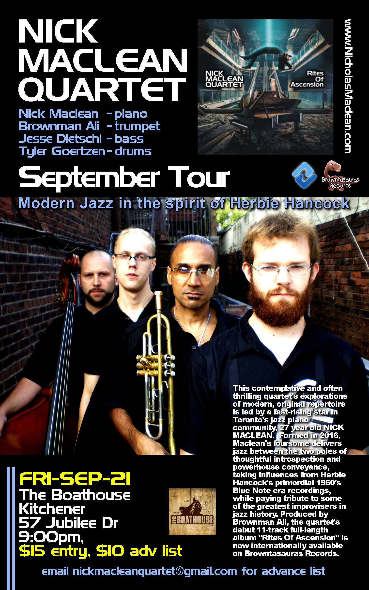 NICK MACLEAN QUARTET feat. BROWNMAN ALI (Kitchener)