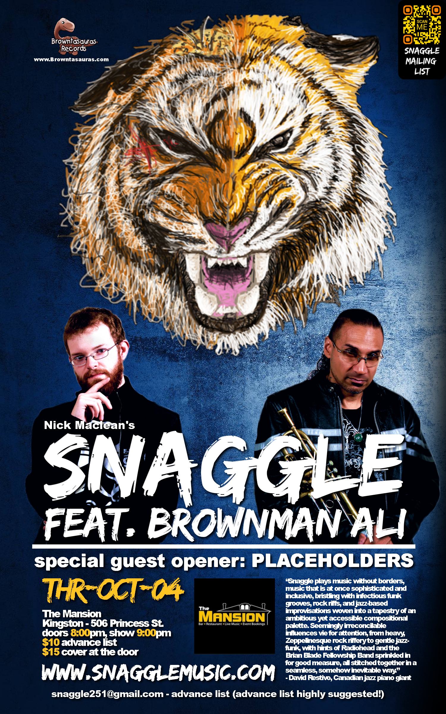SNAGGLE feat. BROWNMAN ALI (kingston) w/ special guest opening act: PLACEHOLDERS