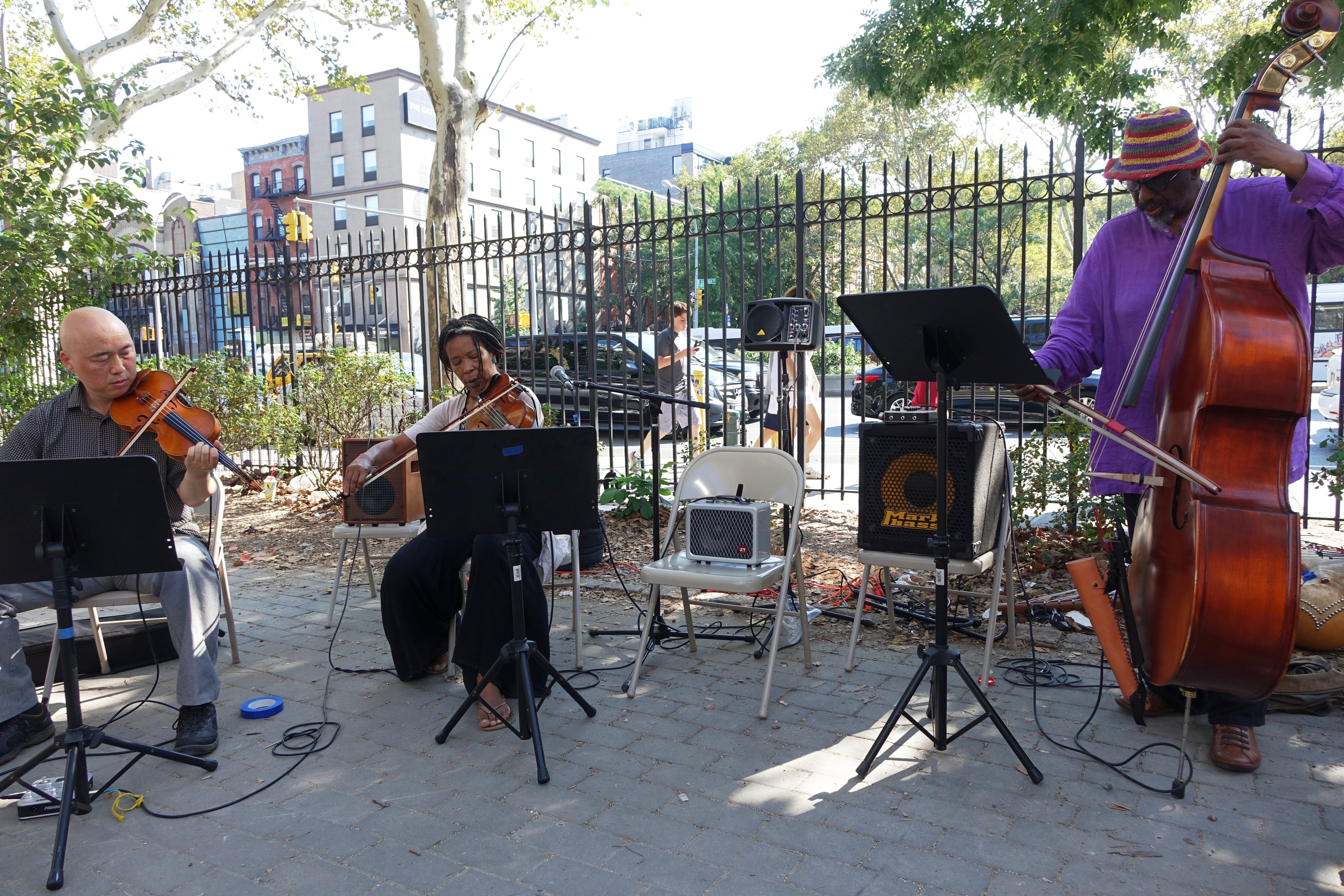 Jason Kao Hwang, Melanie Dyer and William Parker at First Street Green, NYC in September 2017