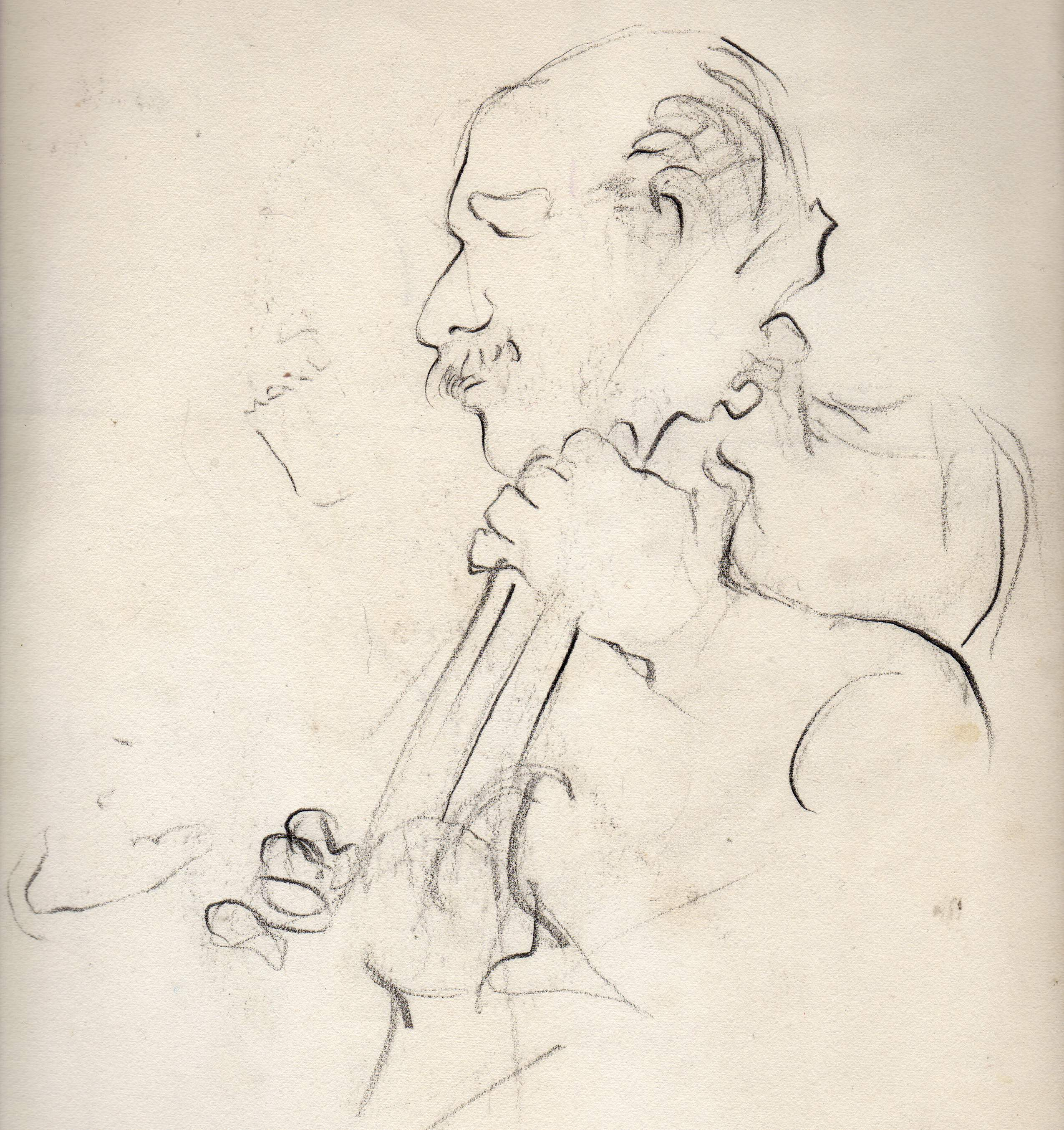 Joe Pass,at the Light House, Santa Monica CA April 19,1980 Drawing by Sharyl Gates
