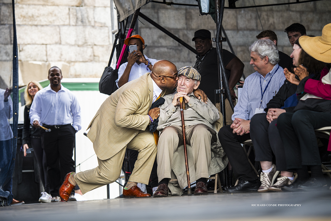 Christian McBride and George Wein at the 2017 Newport Jazz Festival