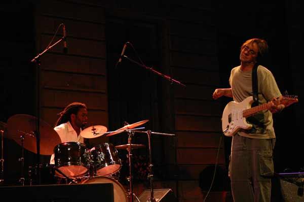 "Nate Smith and Wayne Krantz with ""Chris Potter Underground Group"" at the Cour de L'Hotel de Ville de , Jazz Estival, Geneva, Swi"