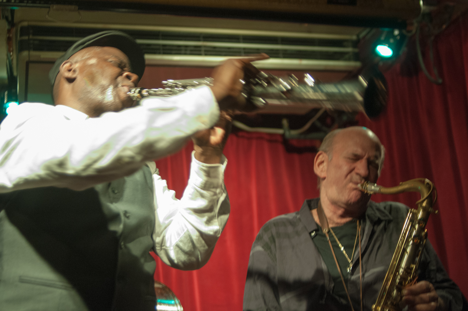 Sam Newsome and David Liebman with the David Liebman Quintet at the Cornelia Street Cafe