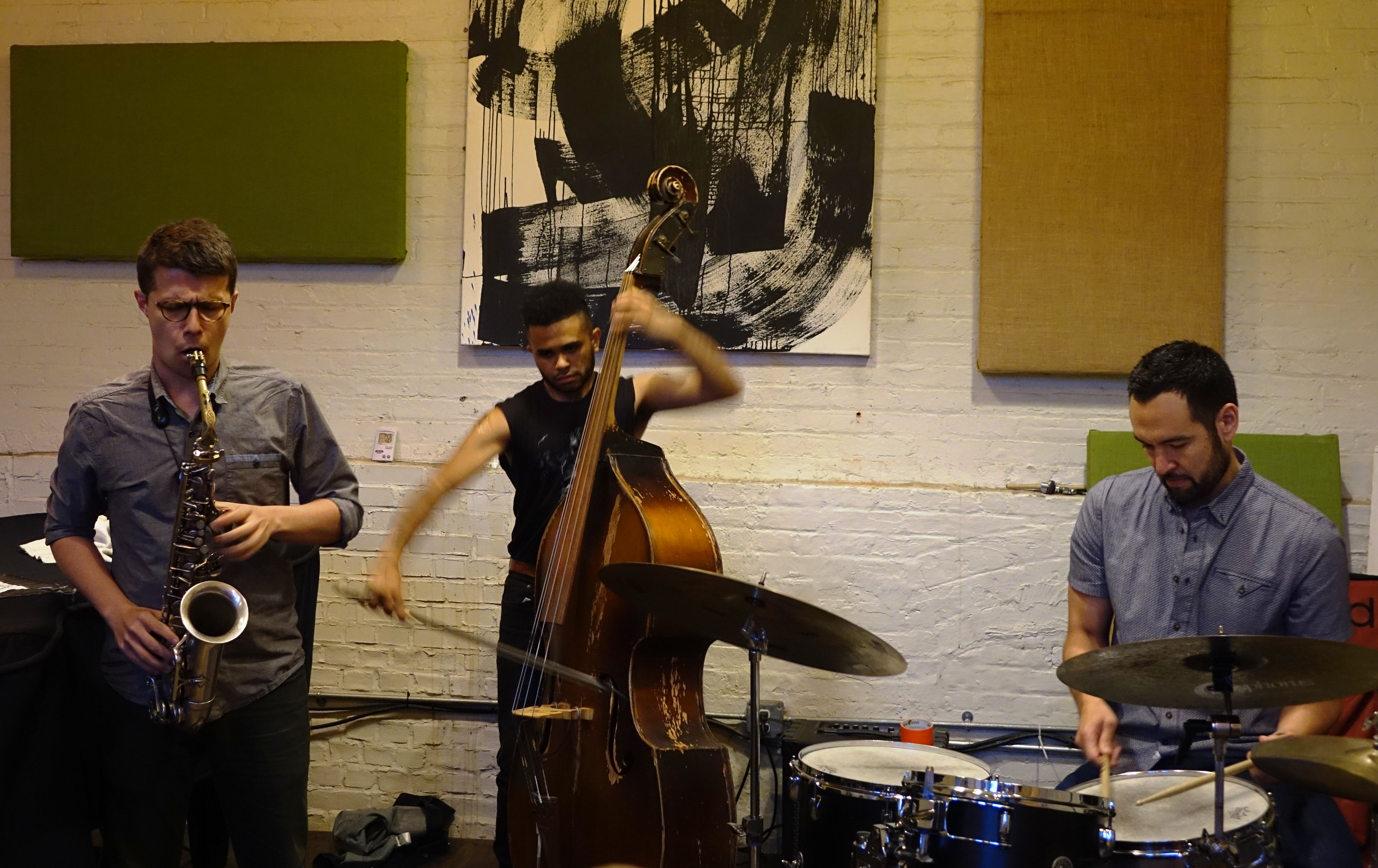 David Leon, Nick Dunston and Tomas Fujiwara at IBeam, Brooklyn in June 2019