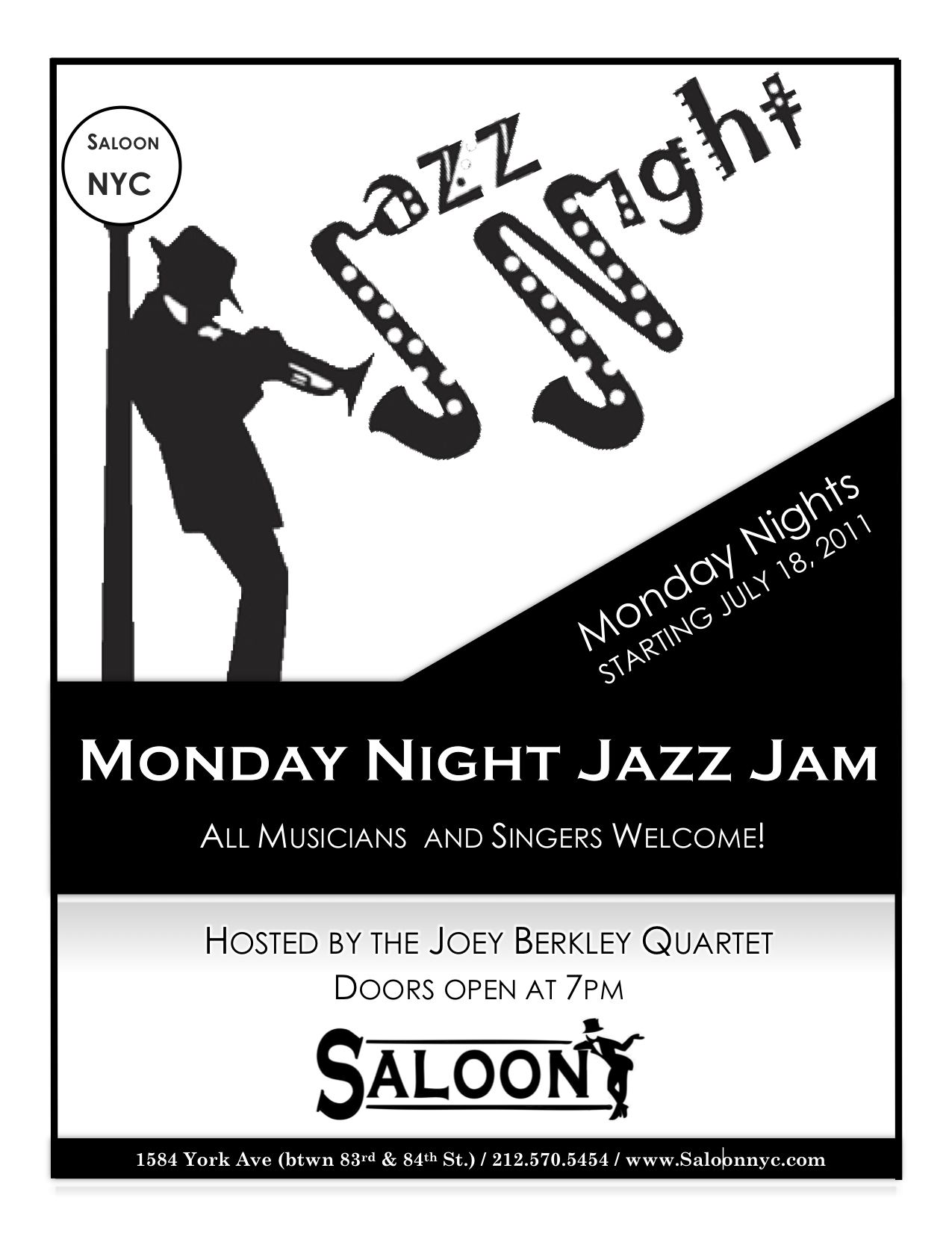 Joey Berkley Quartet Hosts Monday Night Jam @ Saloon, NYC