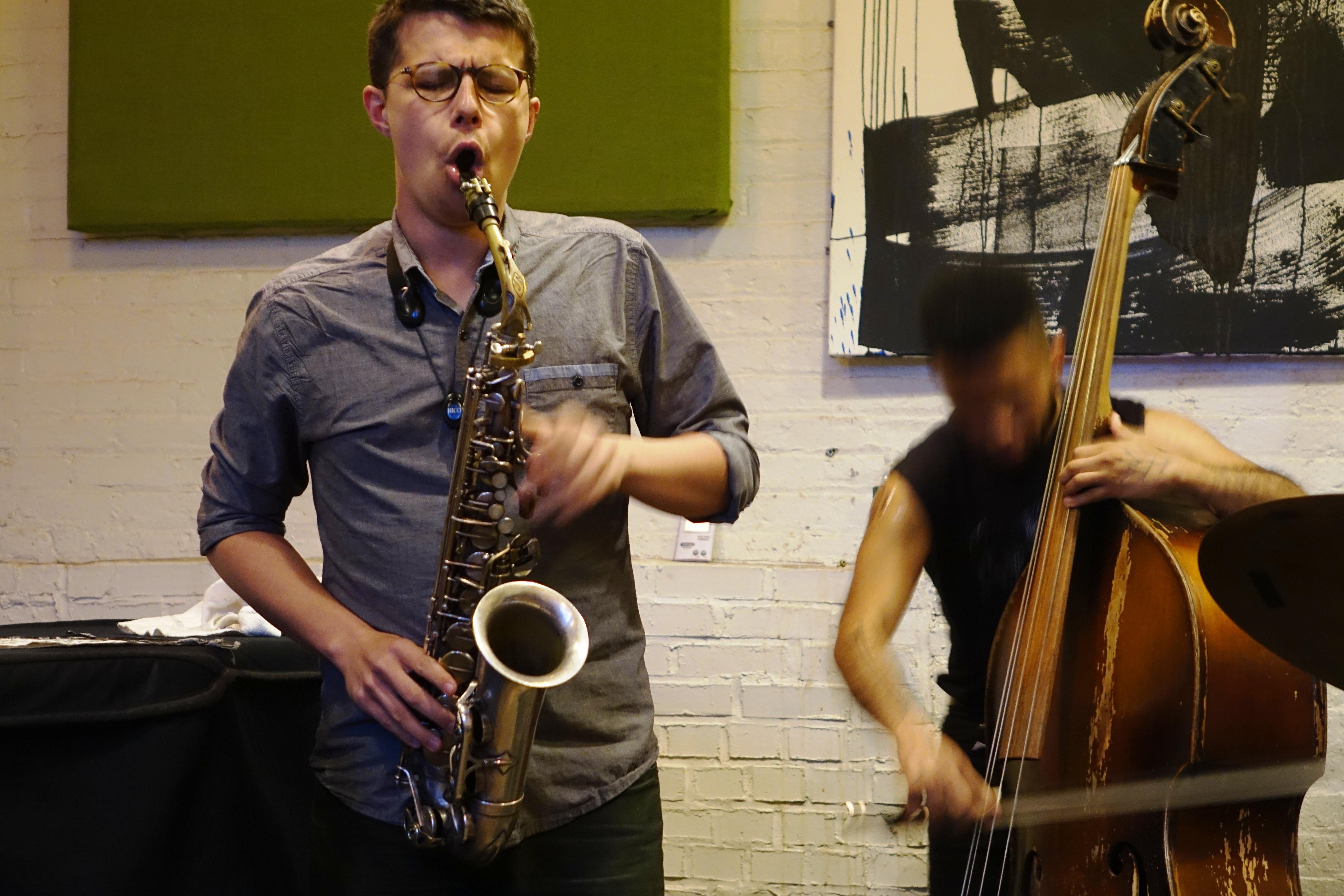 David Leon and Nick Dunston at IBeam, Brooklyn in June 2019