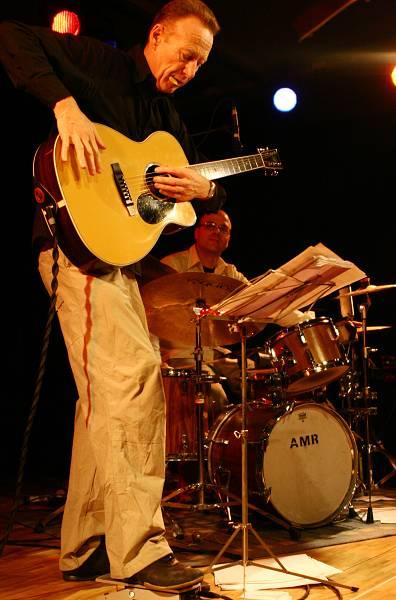 "Christy Doran and Fabian Kuratli with ""Acoustic Strings Quartet"" at the Sud Des Alpes, Amr, Geneva, Switzerland, 2006"
