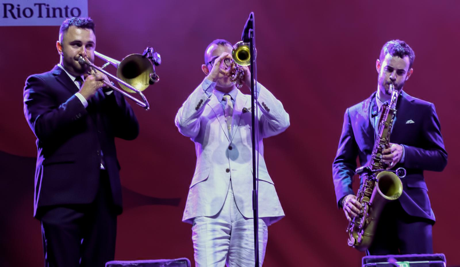 Rob Edwards, Jason Prover and Nick Myers with the Hot Sardines at The Montreal International Jazz Festival 2016