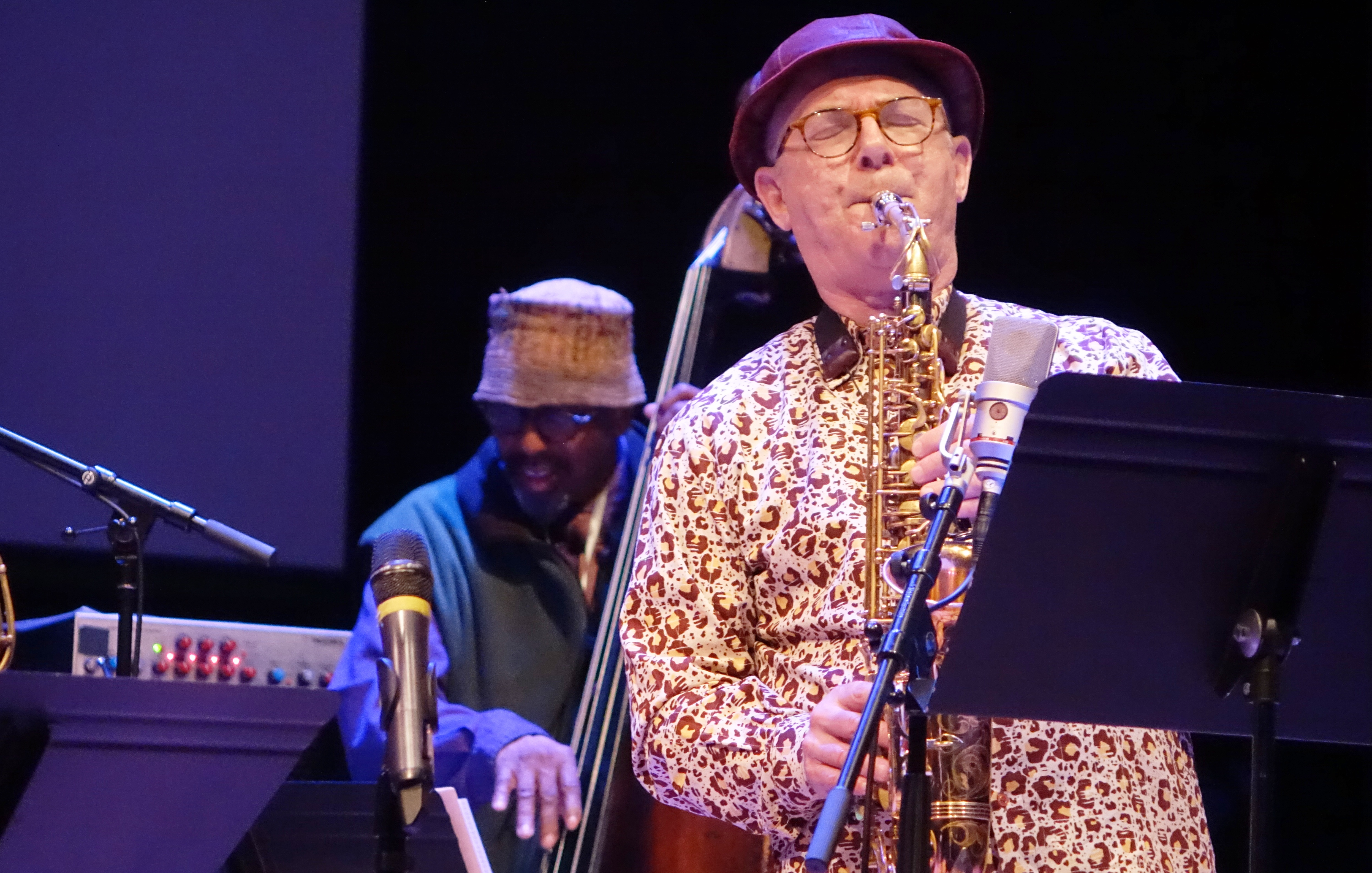 William Parker and Bobby Zankel at the Vision Festival in Roulette, Brooklyn in June 2019