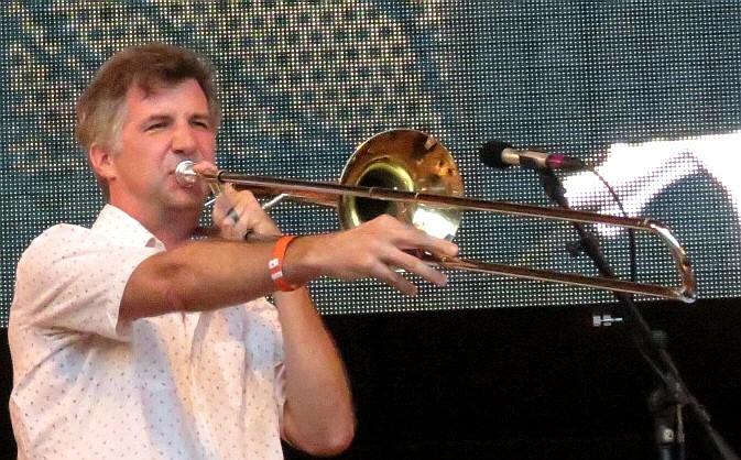 Jeb bishop with hamid drake and bindu at 2013 chicago jazz festival