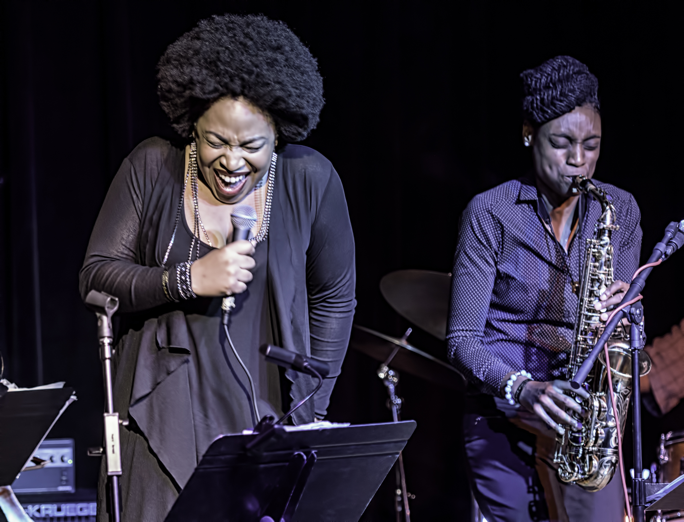 Charenee Wade an Lakecia Benjamin at the NYC Winter Jazzfest 2016