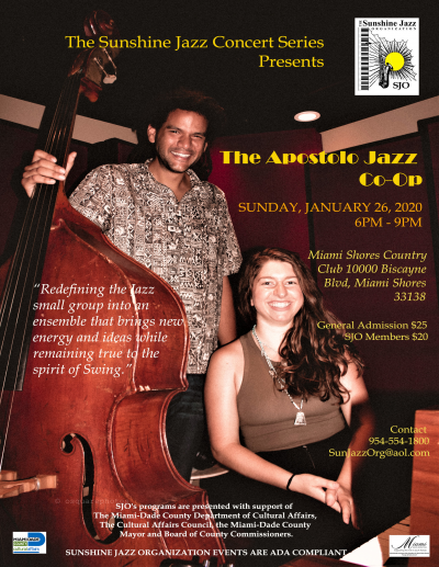 The Sunshine Jazz Concert Series Presents The Apostolo Jazz Co-op!! at Miami Shores Country Club