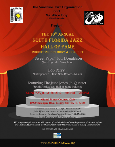 The 10th Annual South Florida Jazz Hall Of Fame Induction Ceremony & Concert at Miami Shores Country Club