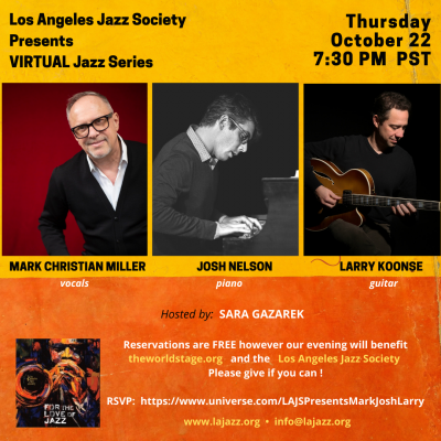 Mark Christian Miller Los Angles Jazz Society Presents at The World Stage