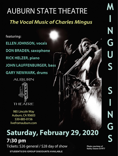Mingus Sings: The Vocal Music of Charles Mingus with Ellen Johnson & Don Braden at State Theater Auburn Placer Performing Arts Center