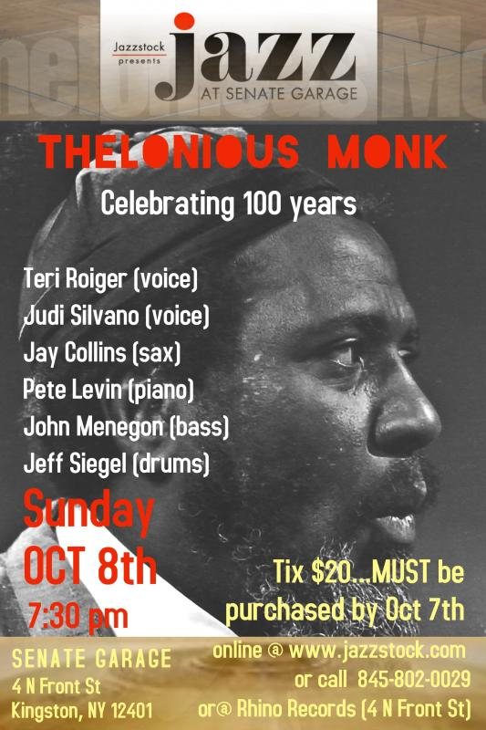 Teri Roiger And Friends - Thelonious Monk - Celebrating 100 Years On October 8 At Senate Garage