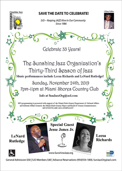 Sunshine Jazz Organization Celebrates 33rd Season! at Miami Shores Country Club