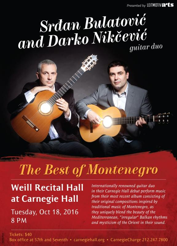 Guitar Duo From Montnegro In Carnegie Hall on October 18th