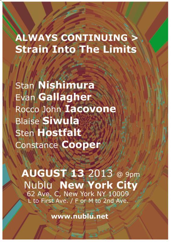 Nishimura, Siwula, Iacovone, Hostfalt, Gallagher, Cooper Live At Nublu NYC August 13 2013