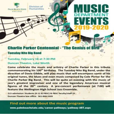 Charlie Parker Centennial - The Genius Of Bird - Pbsc Tuesday Nite Big Band at Duncan Theatre