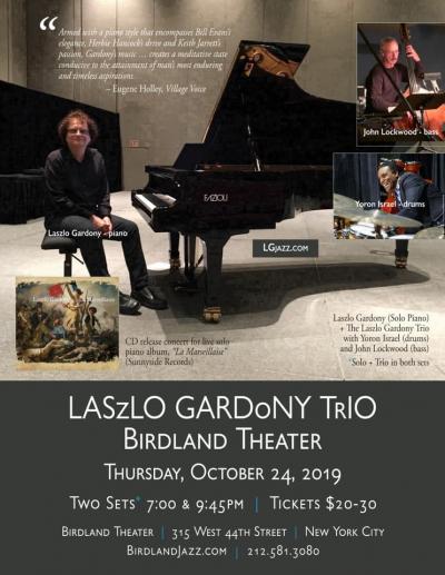 Laszlo Gardony Trio at Birdland Theater