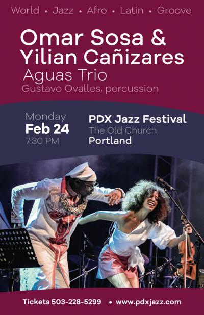 Omar Sosa & Yilian Cañizares Aguas Trio, Featuring Gustavo Ovalles, Percussion at Portland PDX Jazz Festival at The Old Church