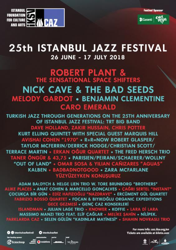 The 25th Istanbul Jazz Festival:  June 26 to July 17, 2018