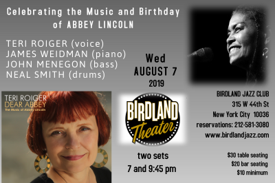 Teri Roiger Celebrates The Music And Birthday Of Abbey Lincoln at Birdland Theater