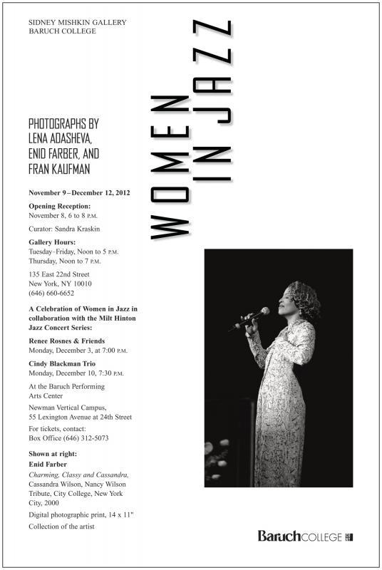 Women In Jazz: Photographs By Lena Adasheva, Enid Farber, And Fran Kaufman